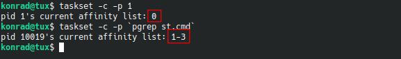"Example output of ""taskset -c -p 1; taskset -c -p `pgrep st.cmd`"""