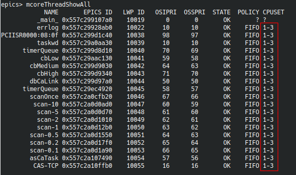 "Example output of ""mcoreThreadShowAll"""