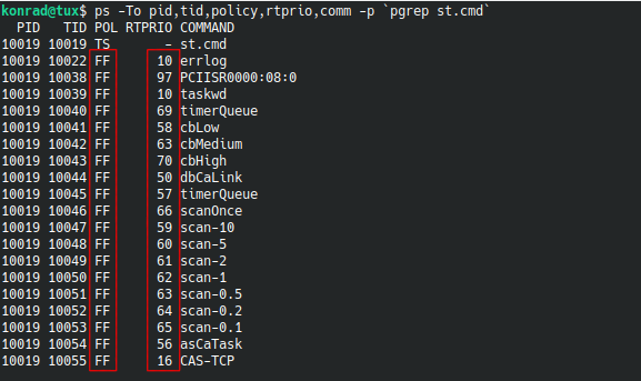 """Example output of """"ps -To pid,tid,policy,rtprio,comm -p `pgrep st.cmd`"""""""
